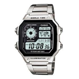 腕時計 CASIO カシオ メンズ レディース デジタル シルバー チープカシオ AE1200WHD-1AV|atdigiplus