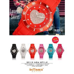 IN TIMES インタイムス 腕時計 スワロフスキー かわいい キラキラ ハート ダイバー シリコンベルト レディース キッズ選べる6色 シチズン製ムーブ|atdigiplus