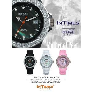 IN TIMES インタイムス 腕時計 真珠貝 文字盤 40mm スワロフスキー シリコンバンド メンズ レディースシチズン製ムーブ|atdigiplus