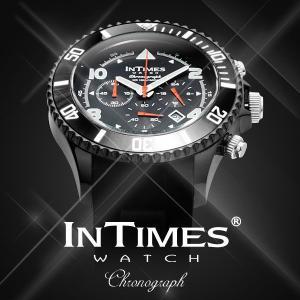 IN TIMES インタイムス 腕時計 100m防水 迫力の44mm シリコンバンド ダイバー クロノグラフ メンズシチズン製ムーブ|atdigiplus