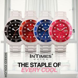 IN TIMES インタイムス 腕時計 迫力の44mm シリコン ホワイト ダイバー メンズ レディース選べる4色 シチズン製ムーブ|atdigiplus