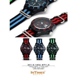 IN TIMES インタイムス 腕時計 迫力の44mm ナイロンベルト ダイバー メンズ レディースシチズン製ムーブ|atdigiplus