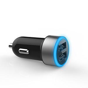 シガーソケット USB 2ポート スマホを2台同時に高速充電 4.8A 12V 24V対応 カーチャージャー iPhone スマホ 車 充電器 光る2ポート|atdigiplus