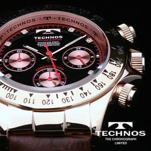 テクノス 腕時計 メンズ TECHNOS 限定モデル   選べる3タイプ スイスの名門 本革ベルト ピンクゴールド クロノグラフ リ メンズ T4161|atdigiplus