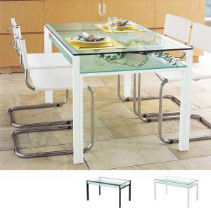 ダイニングテーブル ガラス製 DT-ダイニングテーブル W1300タイプ(天板クリアー・棚板フロスト)|atease
