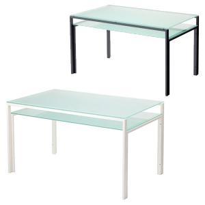 ダイニングテーブル ガラス製 DT-ダイニングテーブル W1300タイプ(天板フロスト・棚板フロスト)|atease