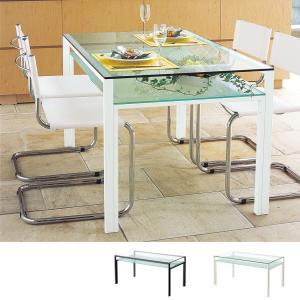 ダイニングテーブル ガラス製 DT-ダイニングテーブル W1500タイプ(天板クリアー・棚板フロスト)|atease