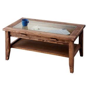 センターテーブル コレクションテーブル ガラス天板・引出し付 ROUEN カントリー パイン無垢材|atease