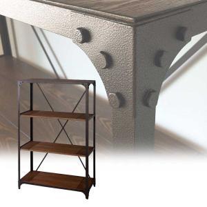 シェルフ ラック オープンラック 収納棚 ディスプレイ棚 什器 ヴィンテージラック 3段 幅90cm アンティーク調 木製 スチール|atease