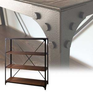 シェルフ ラック オープンラック 収納棚 ディスプレイ棚 什器 ヴィンテージラック 3段 幅120cm アンティーク調 木製 スチール|atease