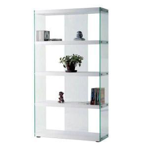 ディスプレイ棚・什器 ガラス製 HAB-624 グラスシェルフ W83cm 木+ガラス シンプルモダン|atease
