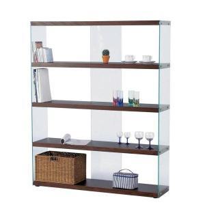 ディスプレイ棚・什器 ガラス製 HAB-625 ワイドグラスシェルフ W122cm 木+ガラス シンプルモダン|atease