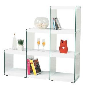 ディスプレイ棚・什器 ガラス製 HAB-702 ステアラック 木+ガラス 階段型デザイン シンプルモダン|atease