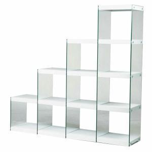 ディスプレイ棚・什器 ガラス製 HAB-703 ステアラック 木+ガラス 階段型デザイン シンプルモダン|atease