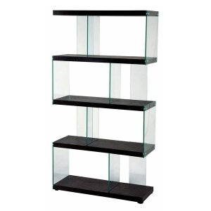 ディスプレイ棚・什器 ガラス製 IS-684 シェルフ ブラック 木+ガラス ジグザグデザイン シンプルモダン|atease