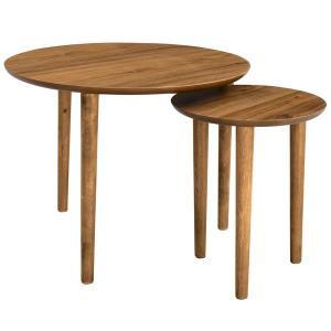 ラウンドネストテーブル 円形 Tomte ウォールナット 北欧モダン|atease