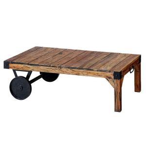 リビングテーブル トローリーテーブル 106×66cm 車輪付 TTF-116 アンティーク風|atease
