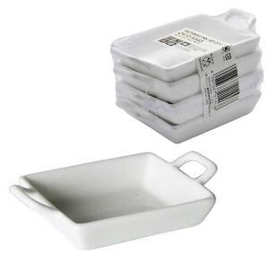 ダルトン RECTANGLE PAN SET OF 4 レクタングル パン 4個セット セラミック製 小皿 ディップ皿 薬味入れ ソース入れ ミニ シンプル ホワイト|atease