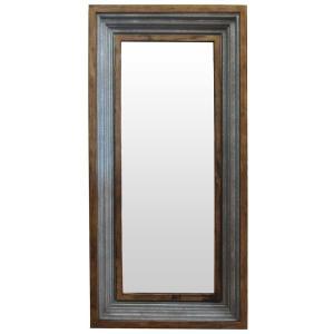 鏡 ミラー 壁掛け ダルトン IRON MIRROR 1500 アイアン ミラー1500 ウォールミラー 長方形 大型 木・鉄フレーム アンティーク風|atease