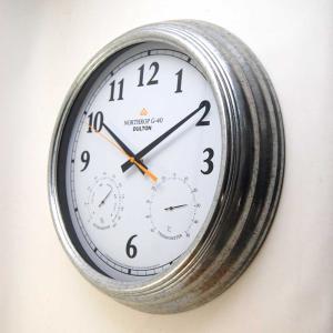 壁掛け時計 ダルトン ウォールクロック ノースロップ G-40 直径40.5cm 温度計・湿度計付 ガルバナイズド シンプル レトロ アメリカンヴィンテージ調|atease