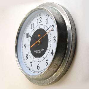 壁掛け時計 ダルトン ウォールクロック ノースロップ G-30 直径30.5cm ガルバナイズド シンプル レトロ アメリカンヴィンテージ調|atease