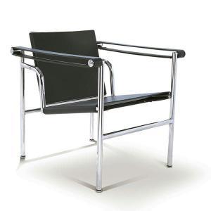 ラウンジチェア LC-1 スリングチェア ル・コルビジェ PVCレザー張り ブラック リプロダクト シンプルモダン|atease