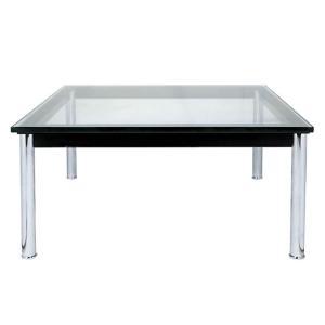 リビングテーブル ガラステーブル ル・コルビジェ LC10 センターテーブル 15mm強化ガラス 70×70cm 正方形 リプロダクト シンプルモダン ミッドセンチュリー|atease