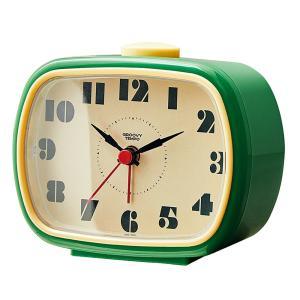 目覚まし時計 アラームクロック サムシングレトロ テーブルクロック グリーン 角型 電子音アラーム レトロ モダン ヴィンテージ調|atease