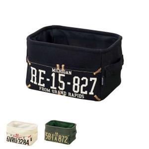 布製収納ボックス ストレージボックス Garage ガレージ DS-1252 スモールサイズ ナンバープレート風デザイン|atease