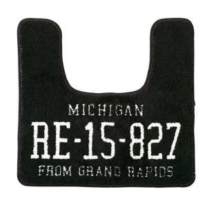 トイレマット Garage ガレージ FL-1482 ブラック ナンバープレート柄|atease
