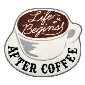 アクセントマット インテリアマット North Side Coffee モチーフマット 55×50cm FL-2786 カフェ風 レトロ ヴィンテージ調|atease