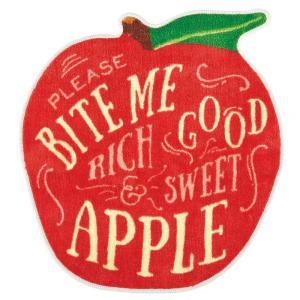 アクセントマット インテリアマット Squeeze Market モチーフマット フルーツ型 アップル 60×63cm FL-2859 カフェ風 レトロ ヴィンテージ調|atease