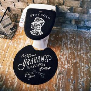 トイレマット・フタカバーセット Graham's Barber グラハムズ・バーバー ブラック 床屋風 レトロ ヴィンテージ調|atease