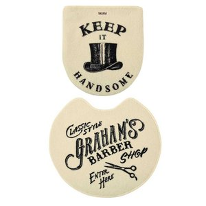 トイレマット・フタカバーセット Graham's Barber グラハムズ・バーバー アイボリー 床屋風 レトロ ヴィンテージ調|atease