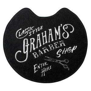トイレマット Graham's Barber グラハムズ・バーバー FL-2918BK ブラック 床屋風 レトロ ヴィンテージ調|atease