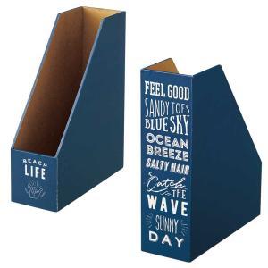 ファイルボックス ファイルスタンド ブック型 A4 縦型 書類整理 本型収納 Seaton ブックスタンド ネイビー|atease
