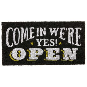 玄関マット ドアマット 屋外用 コイヤーマット Druck Studios TJ-2779 ブラック 58×30cm カフェ風 レトロ ヴィンテージ調 店舗・ショップ用にも|atease