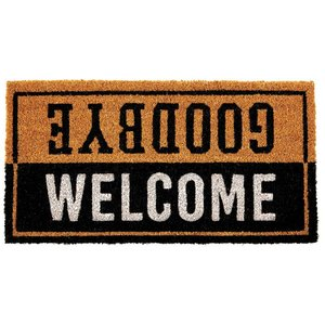 玄関マット ドアマット 屋外用 コイヤーマット Druck Studios TJ-2780 ブラウン 58×30cm カフェ風 レトロ ヴィンテージ調 店舗・ショップ用にも|atease