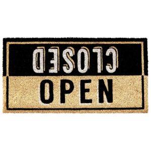 玄関マット ドアマット 屋外用 コイヤーマット Druck Studios TJ-2780 ナチュラル 58×30cm カフェ風 レトロ ヴィンテージ調 店舗・ショップ用にも|atease