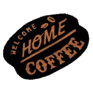 玄関マット ドアマット 屋外用 コイヤーマット North Side Coffee TJ-2792 ブラック 55×36cm レトロ ヴィンテージ調 カフェ コーヒーショップ 店舗用にも|atease