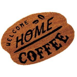 玄関マット ドアマット 屋外用 コイヤーマット North Side Coffee TJ-2792 ブラウン 55×36cm レトロ ヴィンテージ調 カフェ コーヒーショップ 店舗用にも|atease