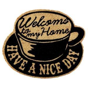 玄関マット ドアマット 屋外用 コイヤーマット North Side Coffee TJ-2793 ブラック 50×42cm レトロ ヴィンテージ調 カフェ コーヒーショップ 店舗用にも|atease