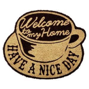 玄関マット ドアマット 屋外用 コイヤーマット North Side Coffee TJ-2793 ナチュラル 50×42cm レトロ ヴィンテージ調 カフェ コーヒーショップ 店舗用にも|atease