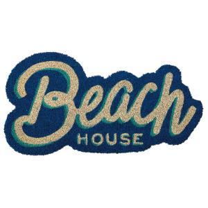 玄関マット ドアマット 屋外用 コイヤーマット Palmtree Coast ビーチハウス TJ-2828 ネイビー 60×31cm ショップ・店舗用にも|atease