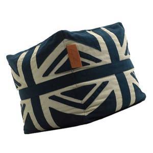Lazy Bag ビーズクッションスツール 159-BB ユニオンジャック カバーリング ブルー/ホワイト|atease