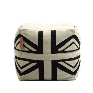 Lazy Bag ビーズクッションスツール 159-BB ユニオンジャック カバーリング ホワイト/ブラック|atease