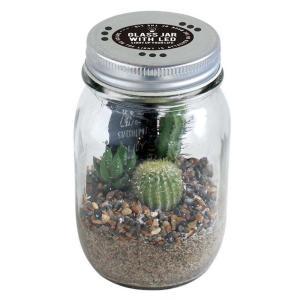 サボテン入り LEDライト付ガラスジャー スパイス GLASS JAR WITH LED SABOTEN Lサイズ|atease