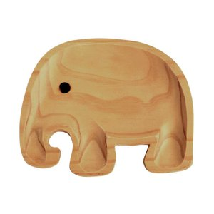 食器 プレート 子供用 ベビー用 木製 皿 ランチプレート プチママン トレイ エレファント ゾウ|atease