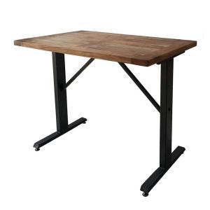 カウンターテーブル バーテーブル スパイス ANCIENT 120×75cm 高さ100cm 長方形 無垢材+スチール 2〜4人用 カフェテーブル ブルックリンスタイル atease