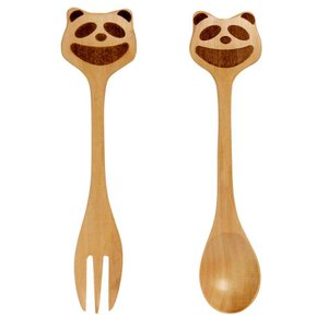 フォーク & スプーン セット 子供用 木製 プチママン パンダ|atease